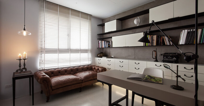 Contemporary Office with Antique Sofa 2